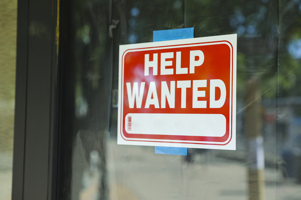 Help wanted sign.