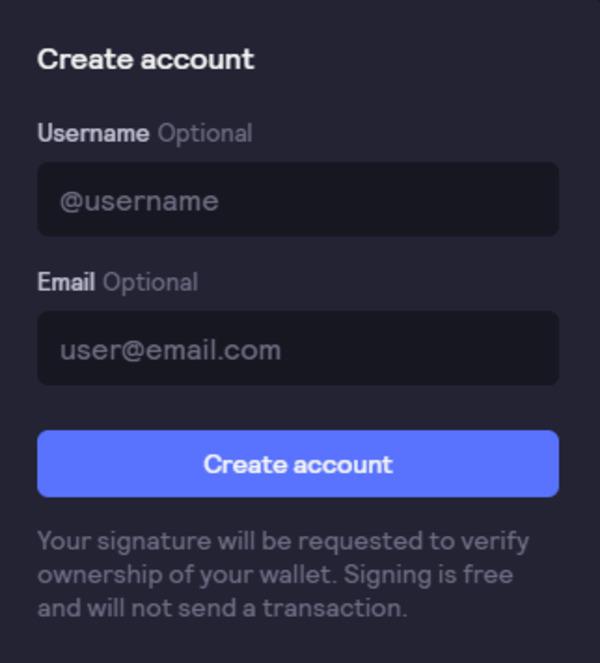 Create account screen.