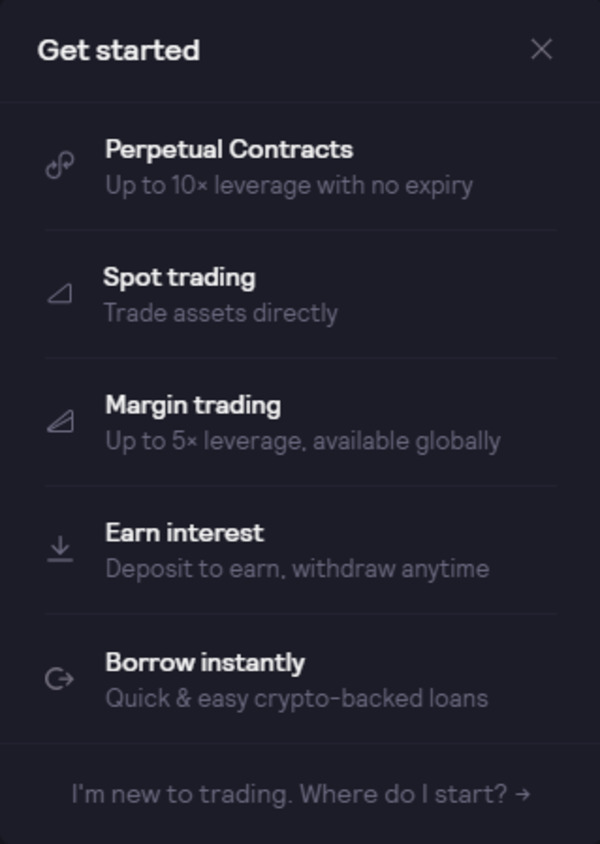 Get started screen.