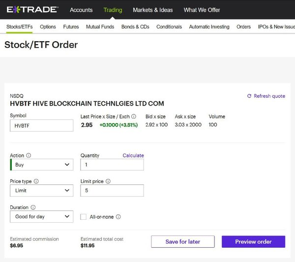 ETrade Stock/ETF order page.