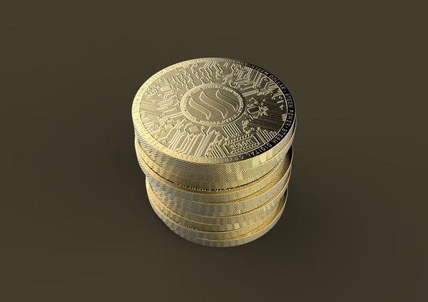 Gold coins with steam logo.