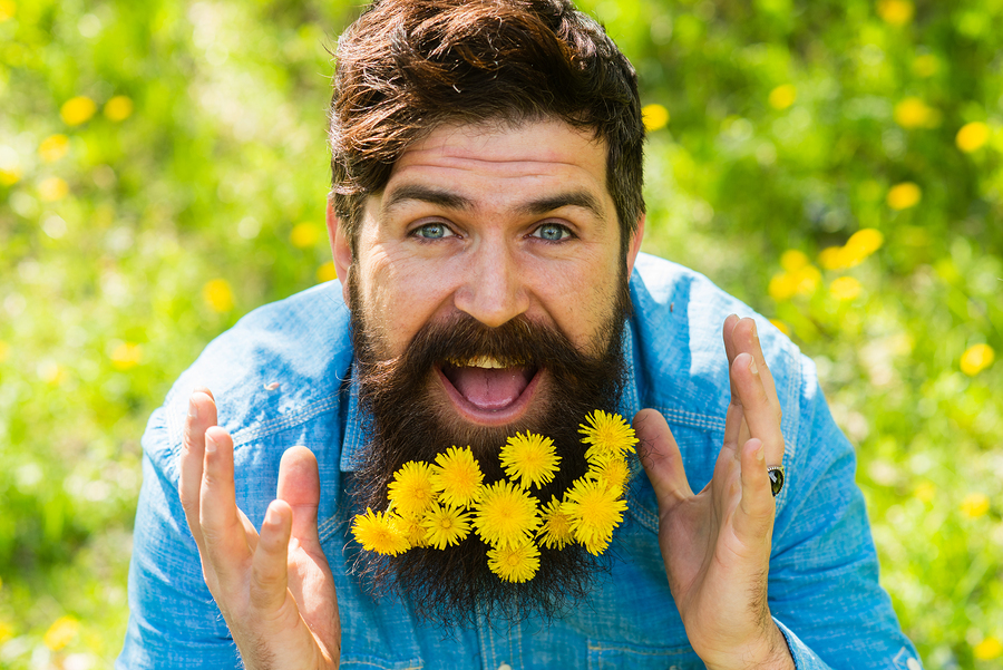 Smiling man with dandelions in his beard.