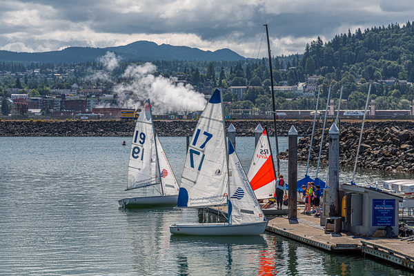 Sailboats in a harbor.