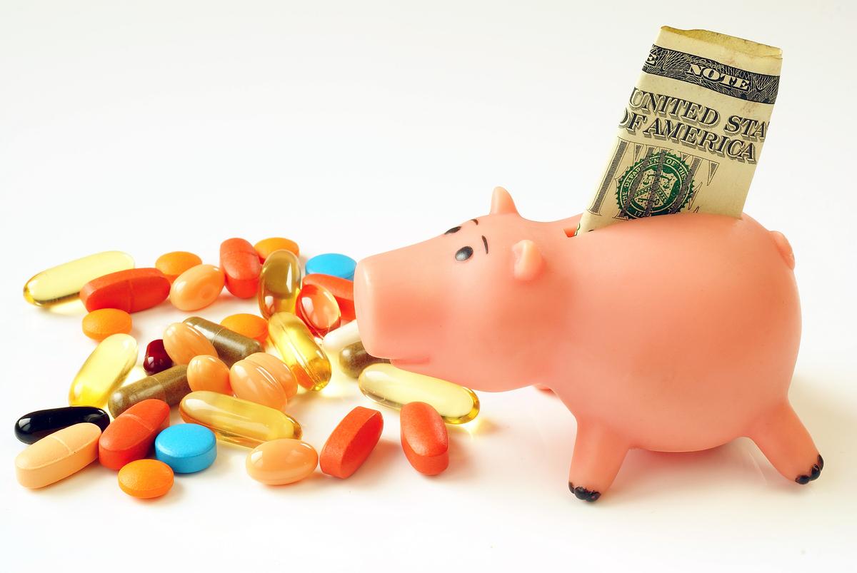 Piggy bank with pills.