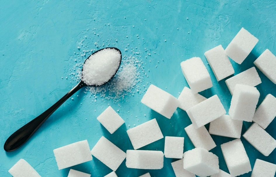 Cubes of sugar on a tabletop.