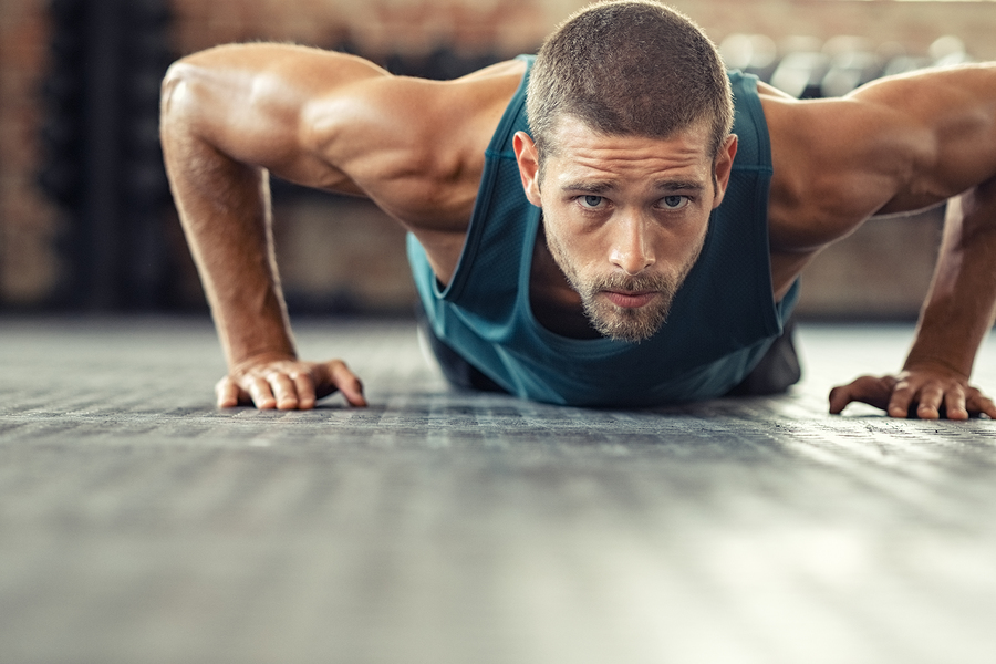 Man performing pushups.