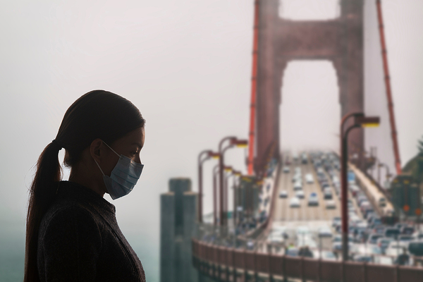 Woman wearing a protective mask.