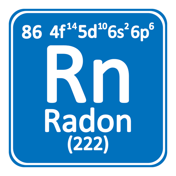 Radon periodic table symbol letters in white with blue background.