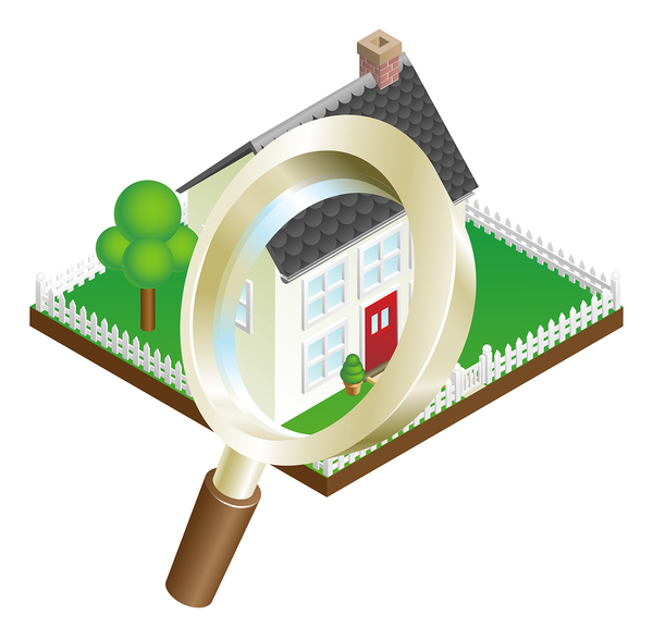 Digital drawing of a house with a magnifying glass over it.