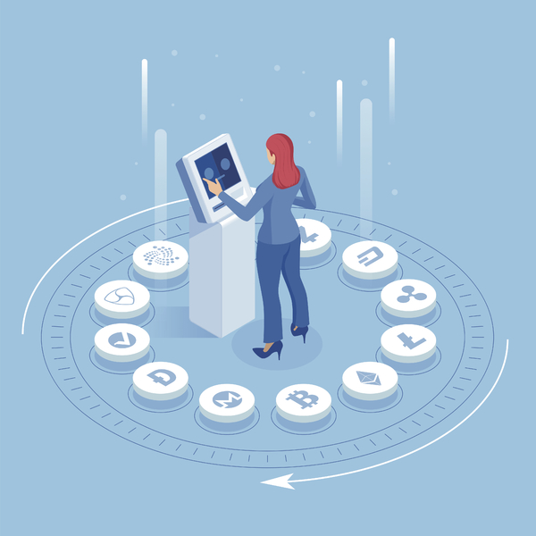 Illustration of a woman standing in the center of cryptocurrency icon symbols.