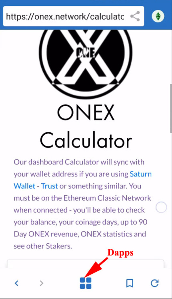 Onex calculator info screen.