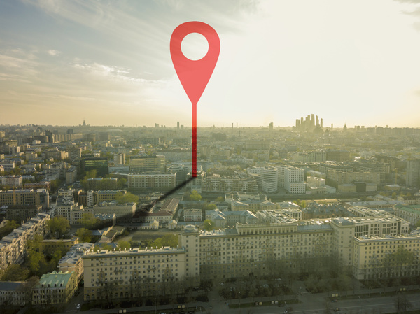 Location symbol on a city map.