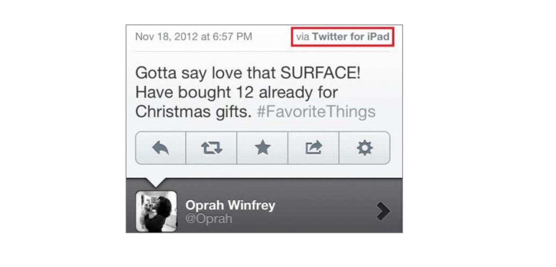 Oprah Winfrey tweet.