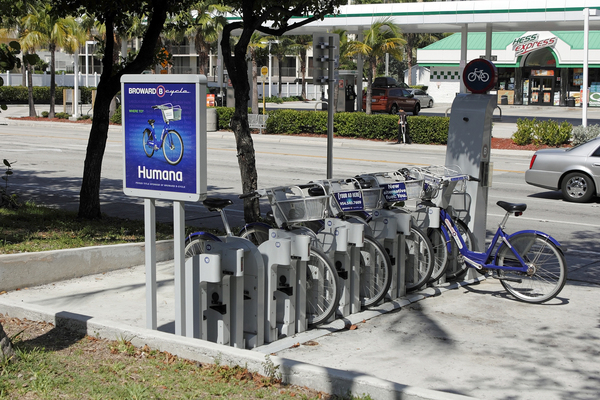 Bicycle rental stand.