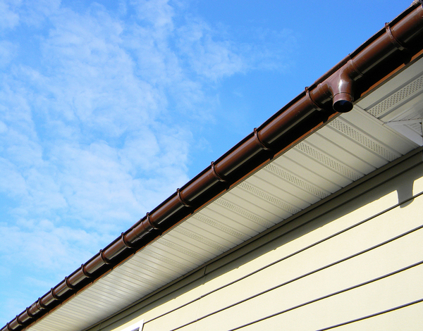 Brown gutters on a shingled home.