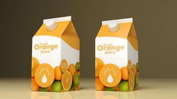 Orange juice boxes.