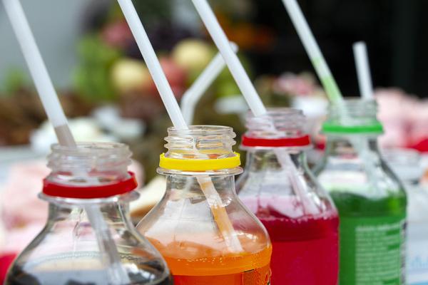 Plastic bottles of beverages.