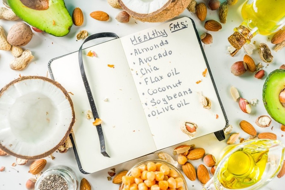 Notebook with a written list of healthy fats.