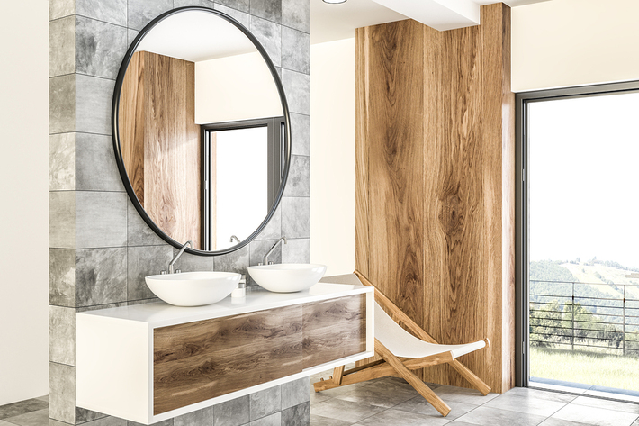 Beautiful bathroom with double sink and glass door.