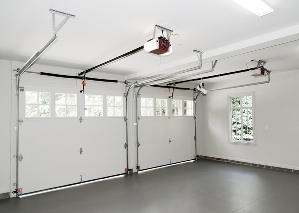 Inside of a double car garage.