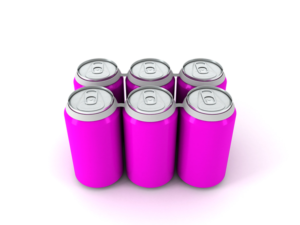 Six pack of cans with plastic rings holding them together.