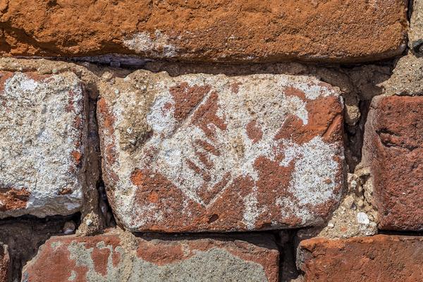 Closeup of brick chimney.