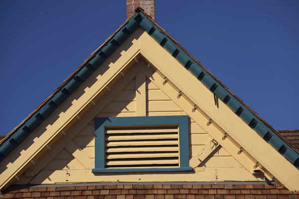 Closeup of the top of a house.