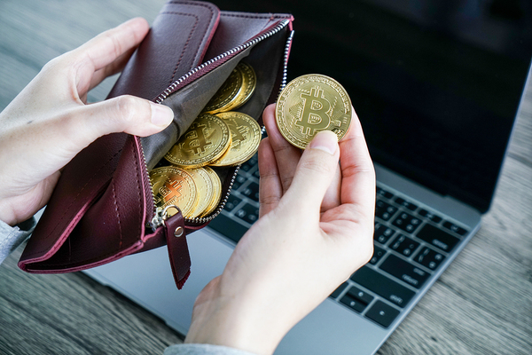 Gold bitcoin coins in a wallet.