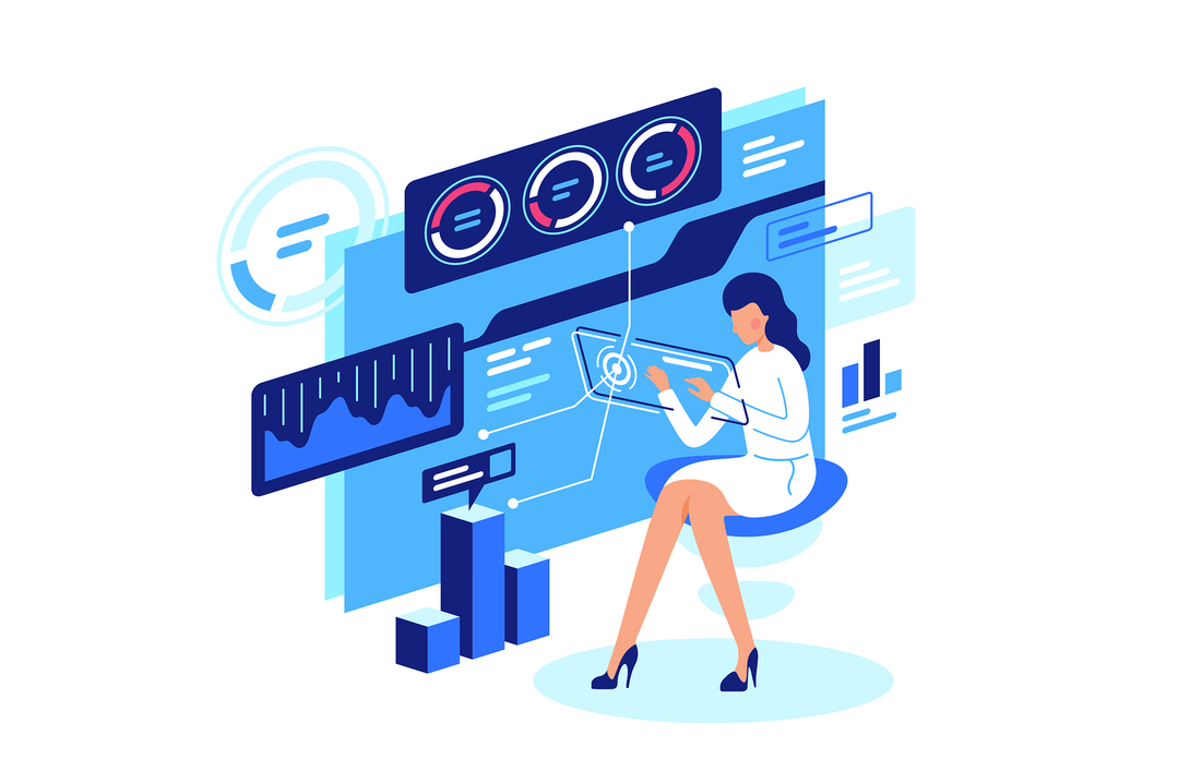 Illustration of a woman typing on a computer screen.