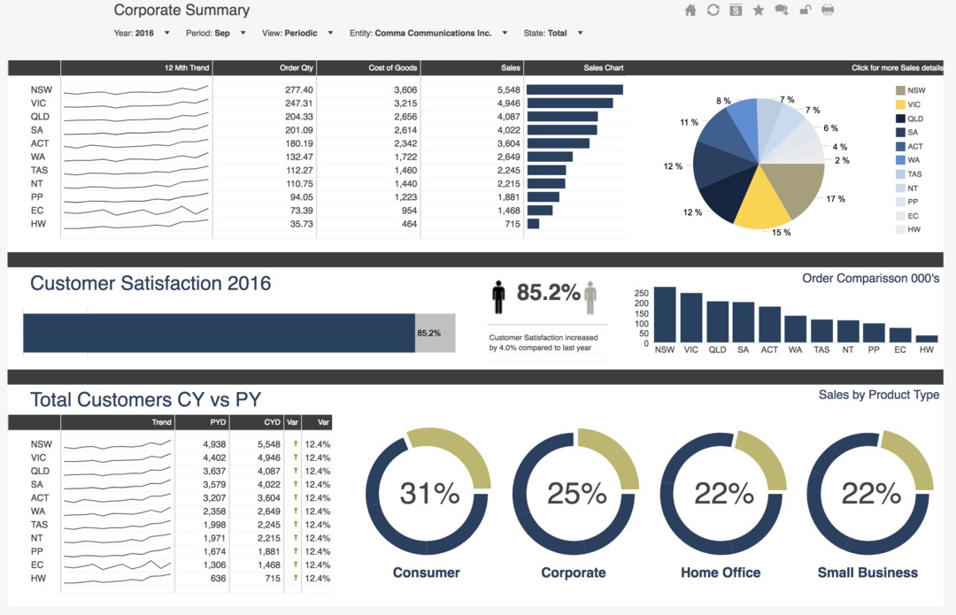 Corporate dashboard with circle graphs and bar graphs.