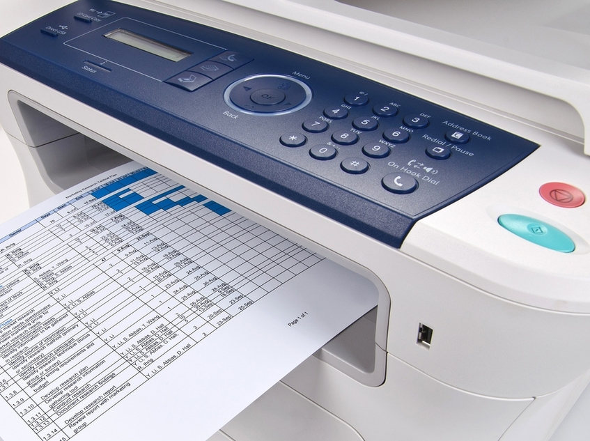 Printer printing out a spreadsheet document.