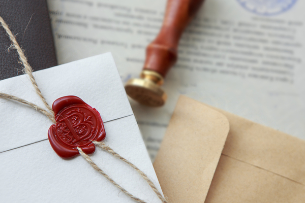 Letter with seal stamp.