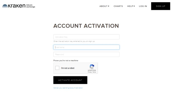 Kraken account activation page.