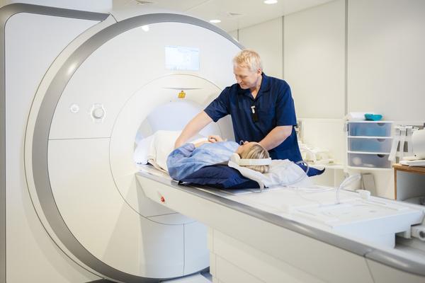 Patient in an MRI machine.