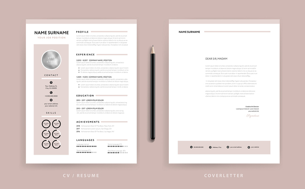 Samples of resumes with circle graphics.
