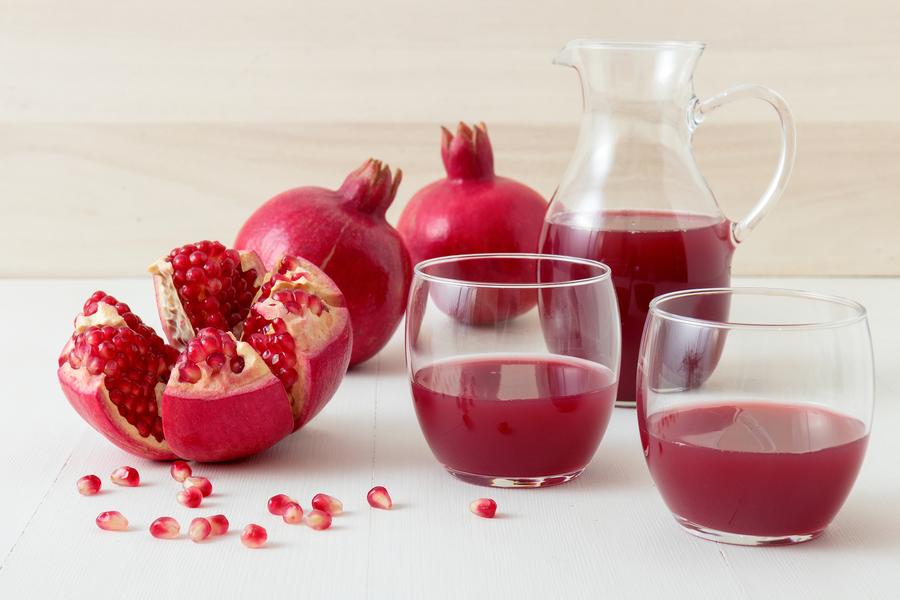 Pomegranates and pomegranate juice.