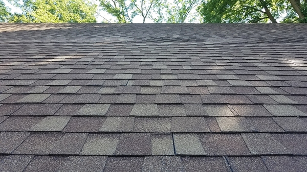 Close up of roof shingles.