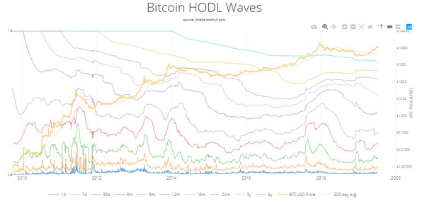 Bitcoin HODL waves graph.
