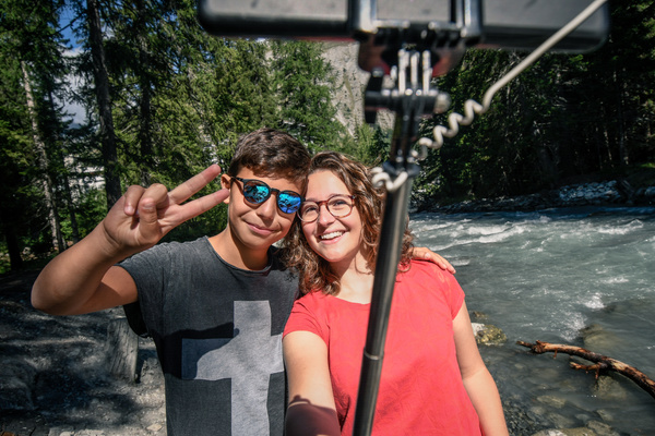 Two people taking a selfie together.