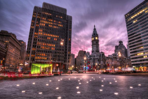 City of Philadelphia at night.