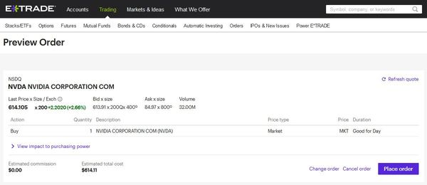 ETrade preview order page.