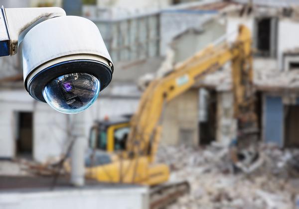 Surveillance camera at a construction site.