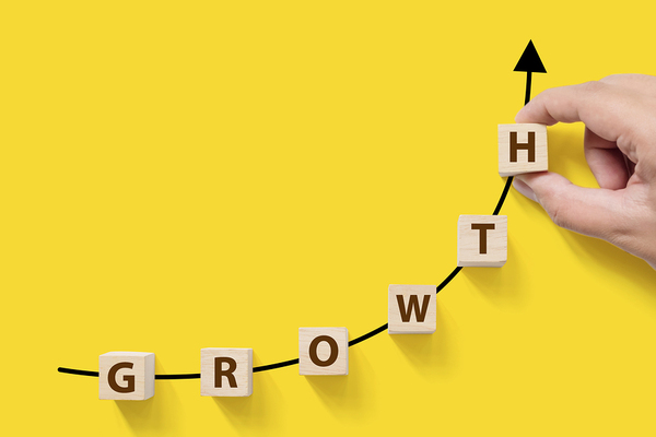 The word growth made with wooden lettered blocks in an upward angle.