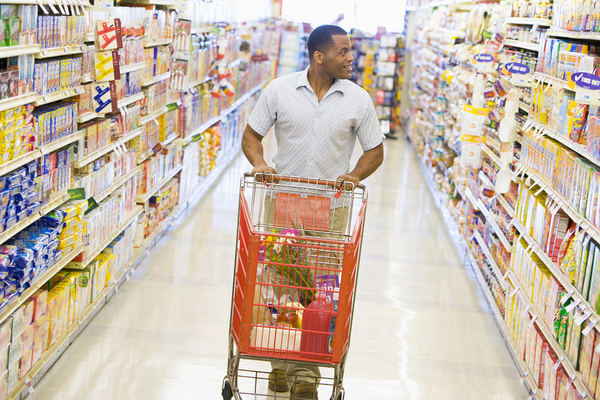 Man shopping in a grocery store.