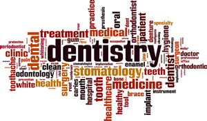 Word cloud with the main word dentistry.