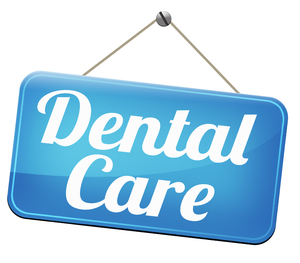 Blue sign with the words Dental Care on it.