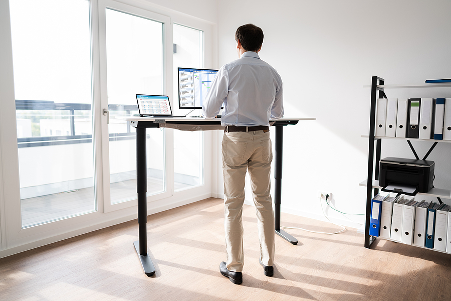 Alternate sitting and standing while working at a computer