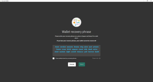 Coinomi app wallet recovery phrase page.