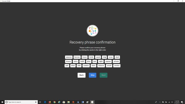 Coinomi app recovery phrase confirmation page.