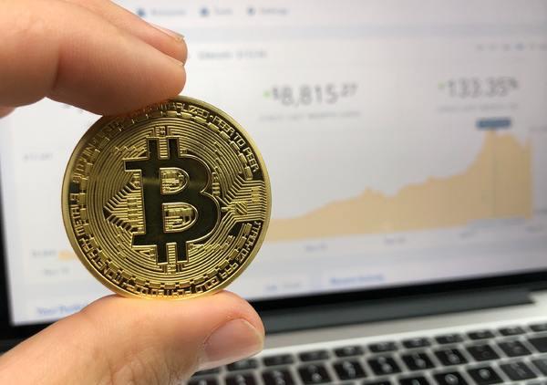 Gold bitcoin coin.